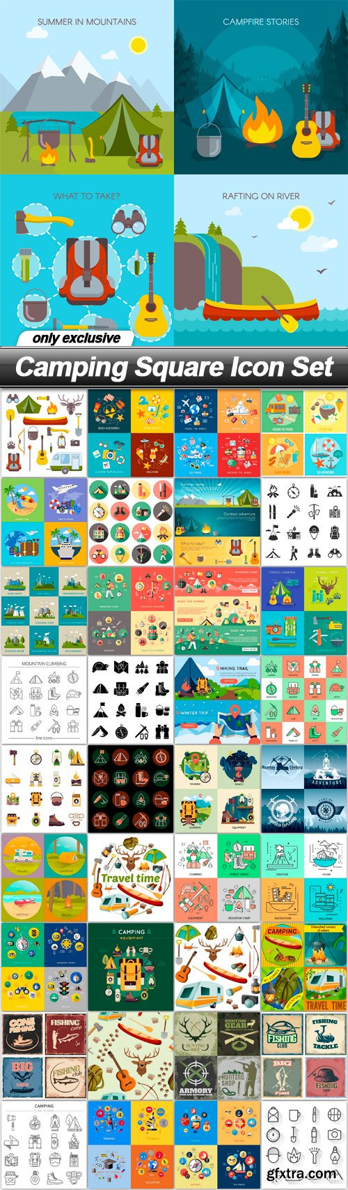 Camping Square Icon Set - 37 EPS