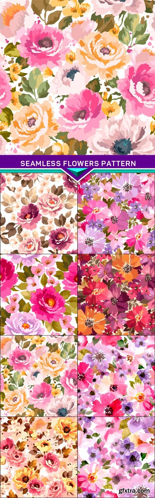 Vector set, seamless flowers pattern 8X EPS