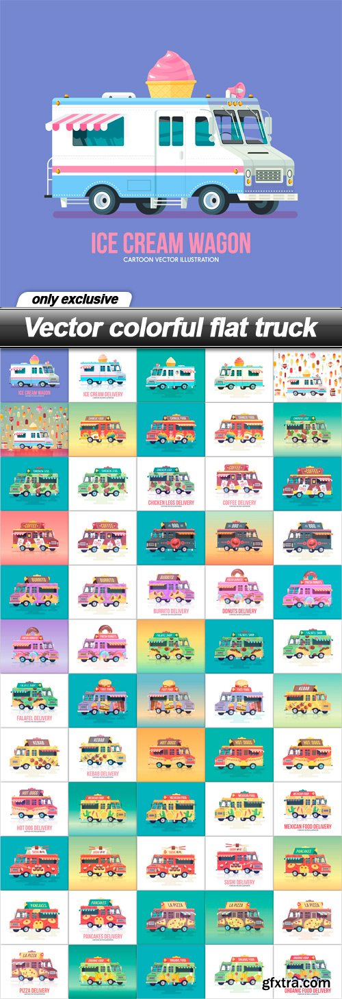 Vector colorful flat truck - 60 EPS