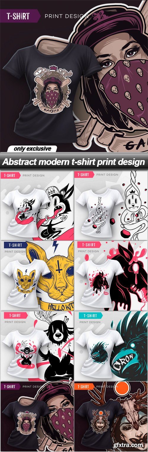 Abstract modern t-shirt print design - 8 EPS