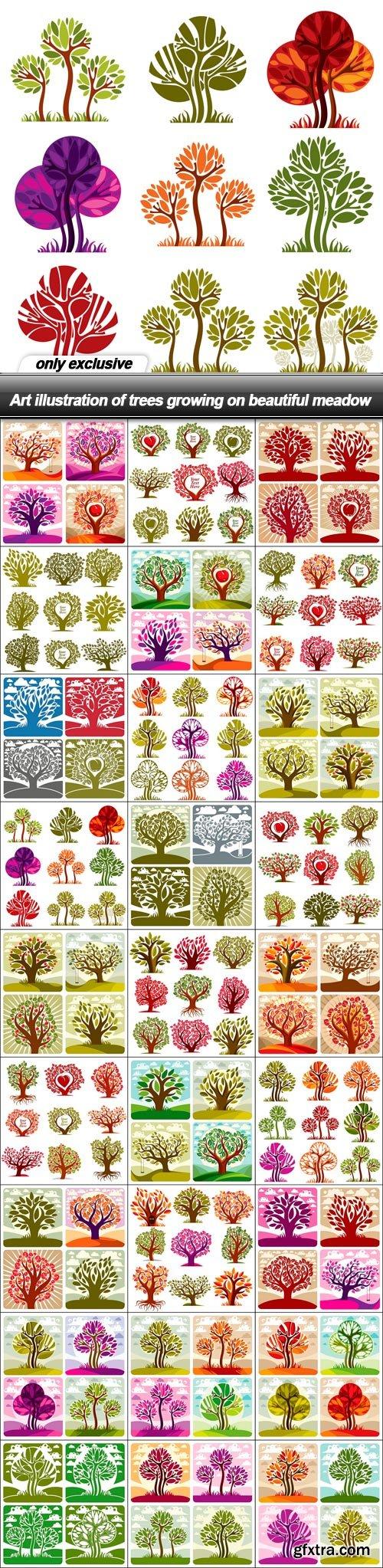 Art illustration of trees growing on beautiful meadow - 27 EPS