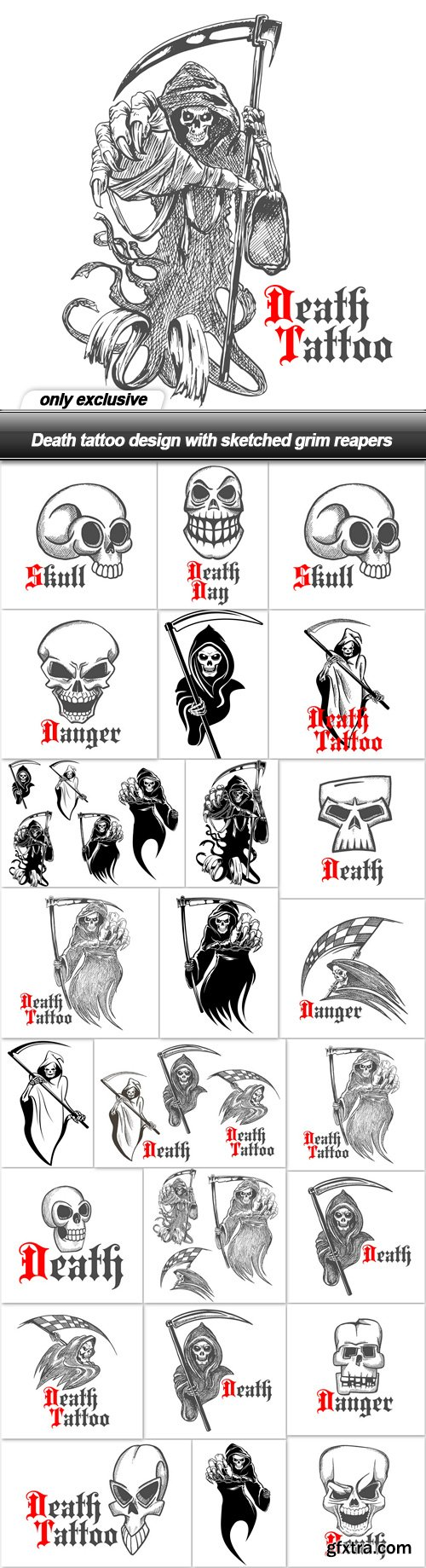 Death tattoo design with sketched grim reapers - 25 EPS