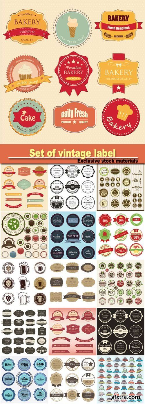 Set of vintage label color old design, set of retro badges