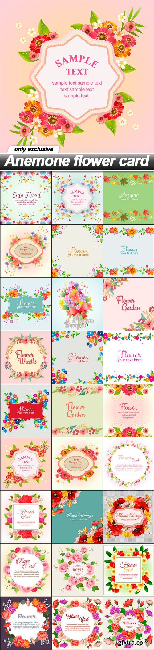 Anemone flower card - 27 EPS