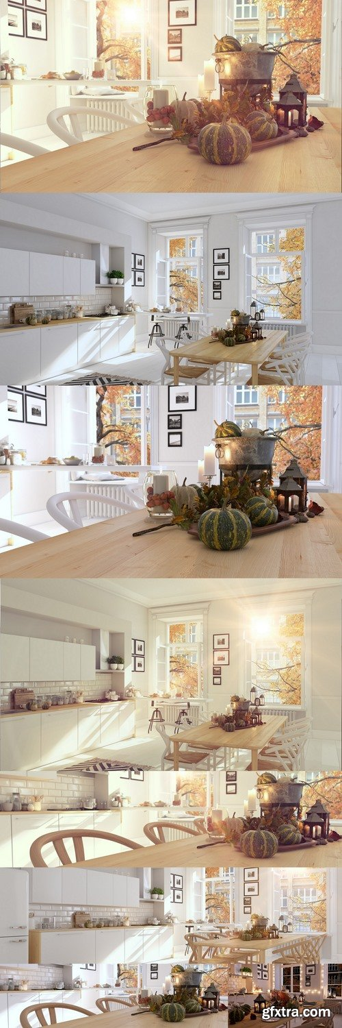 Nordic kitchen in an apartment. 3D rendering
