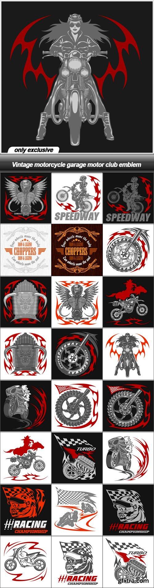 Vintage motorcycle garage motor club emblem - 25 EPS