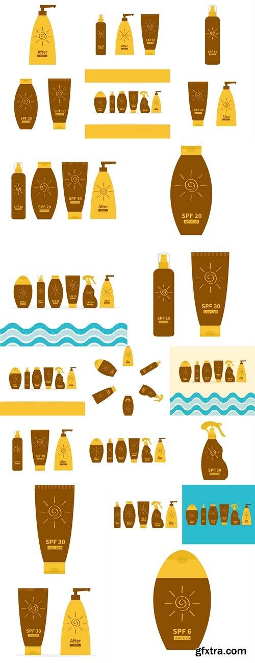 Tube of suntan oil cream. After sun lotion. Bottle set. Solar defence icon