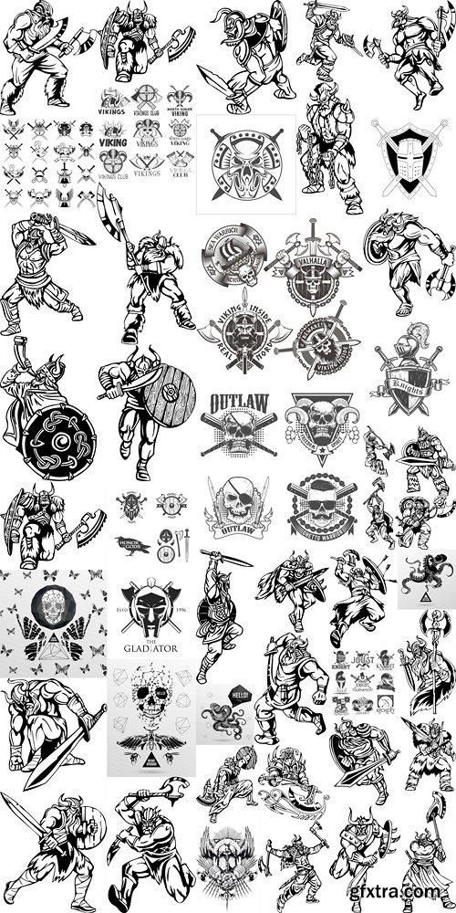 Vector illustration tattoo viking