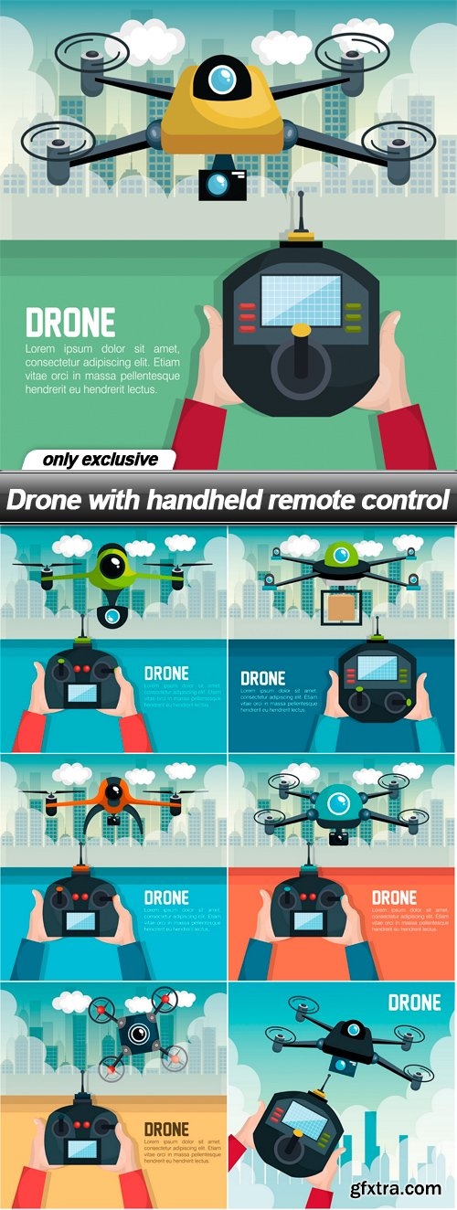 Drone with handheld remote control - 7 EPS