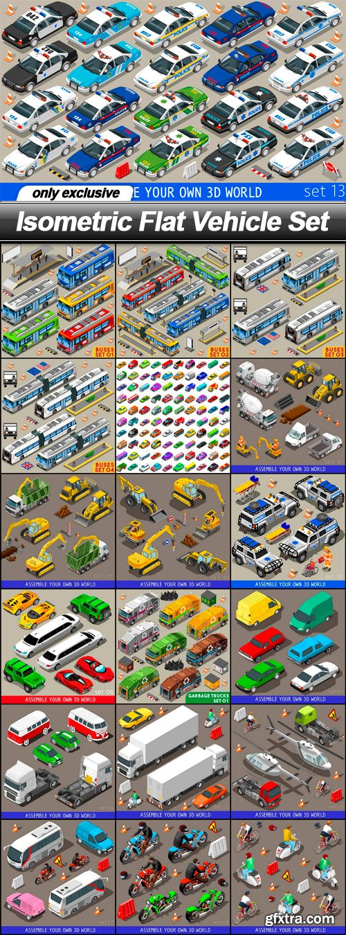 Isometric Flat Vehicle Set - 19 EPS