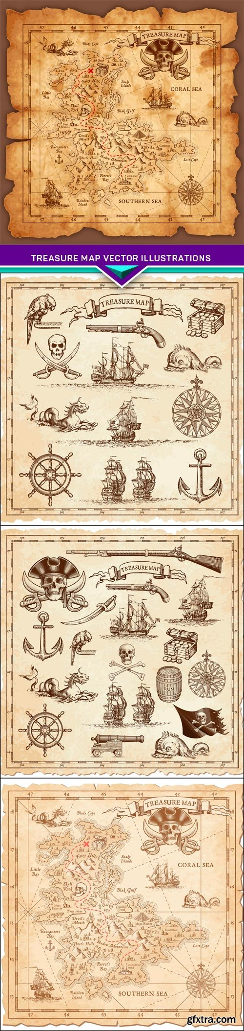 Treasure map vector illustrations 4X EPS