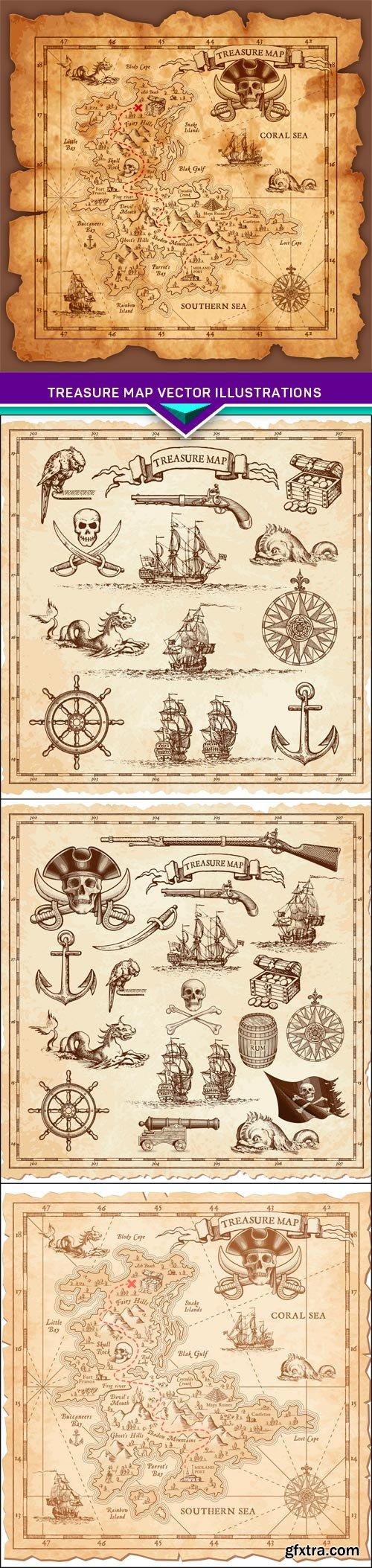 Treasure map vector illustrations 4X EPS
