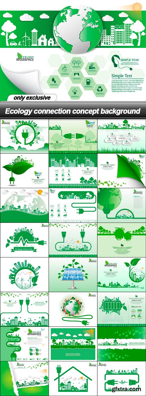 Ecology connection concept background - 25 EPS
