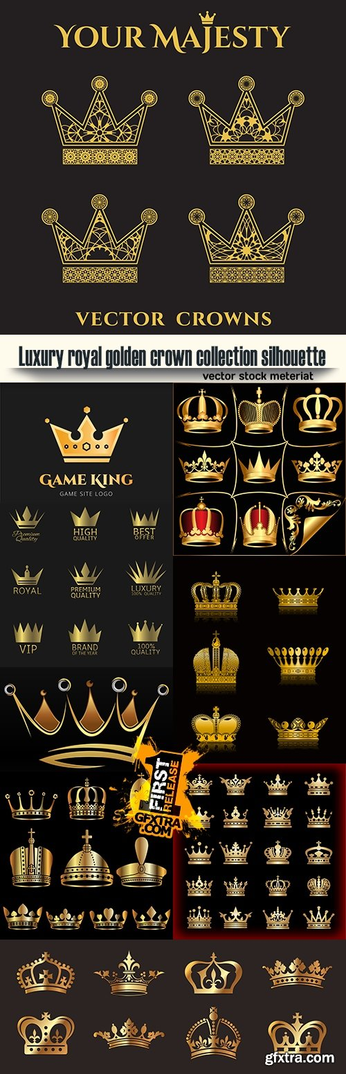Luxury royal golden crown collection silhouette
