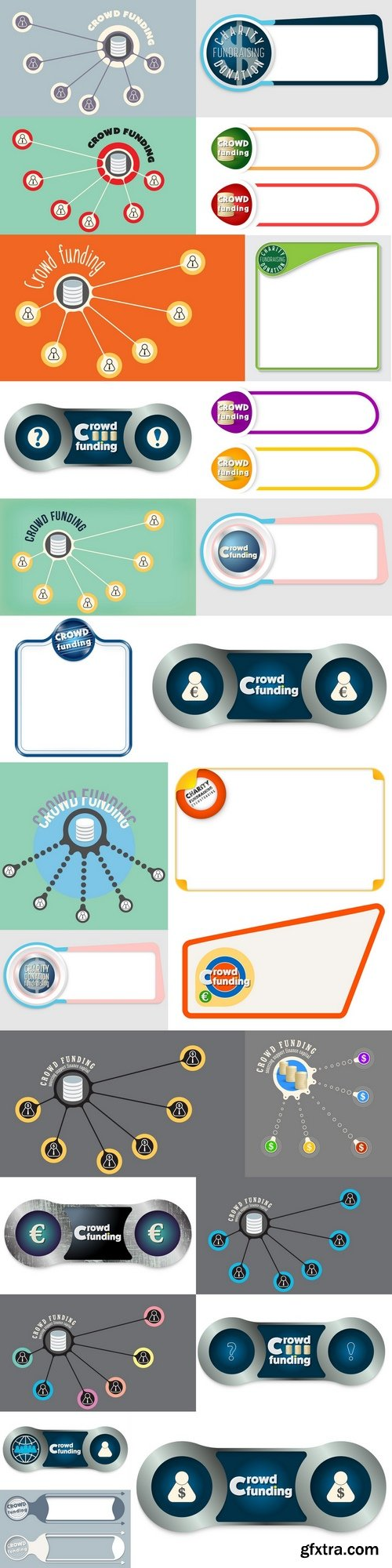 Vector circular object with theme of crowd funding 2