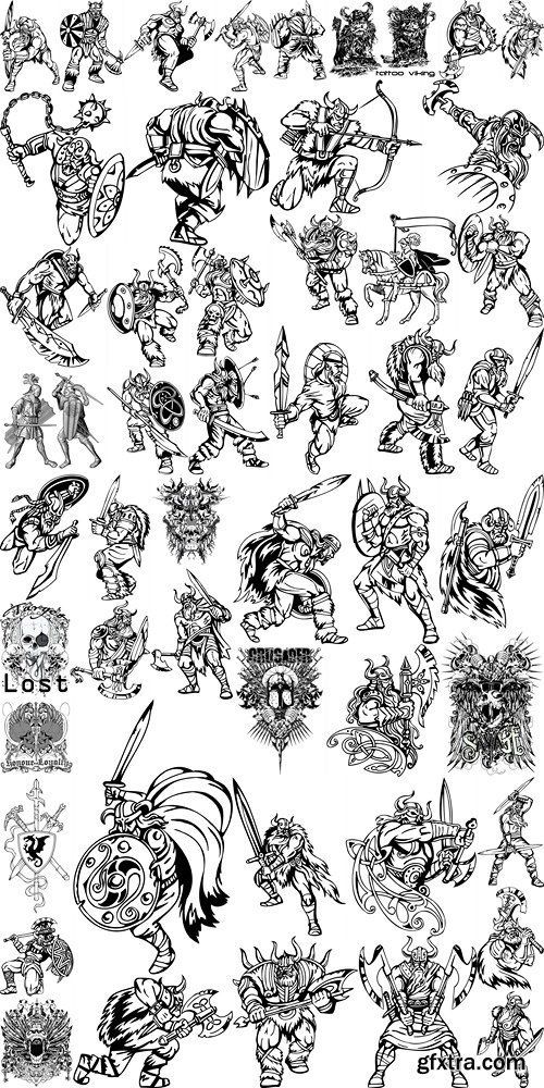 Vector illustration tattoo viking 2