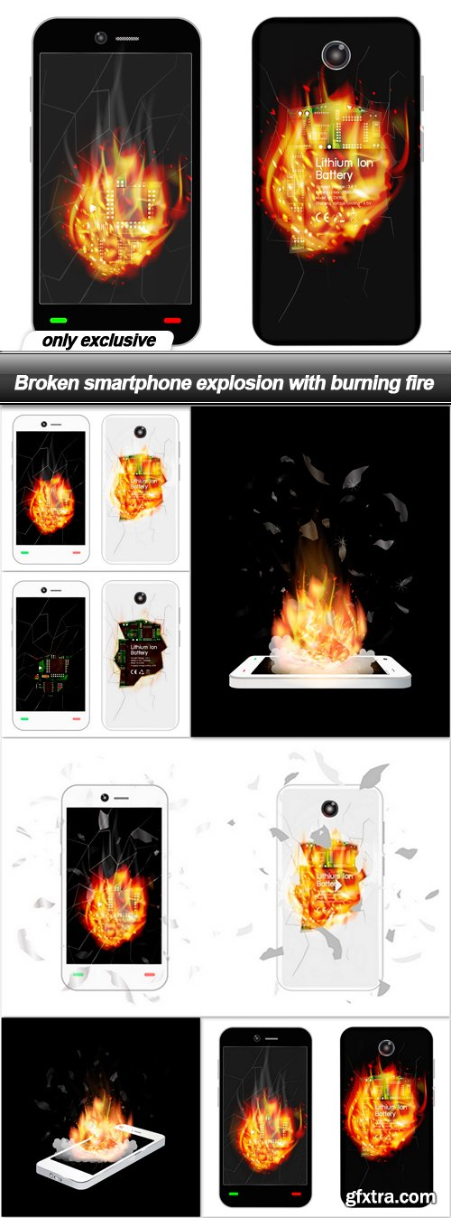 Broken smartphone explosion with burning fire - 6 EPS