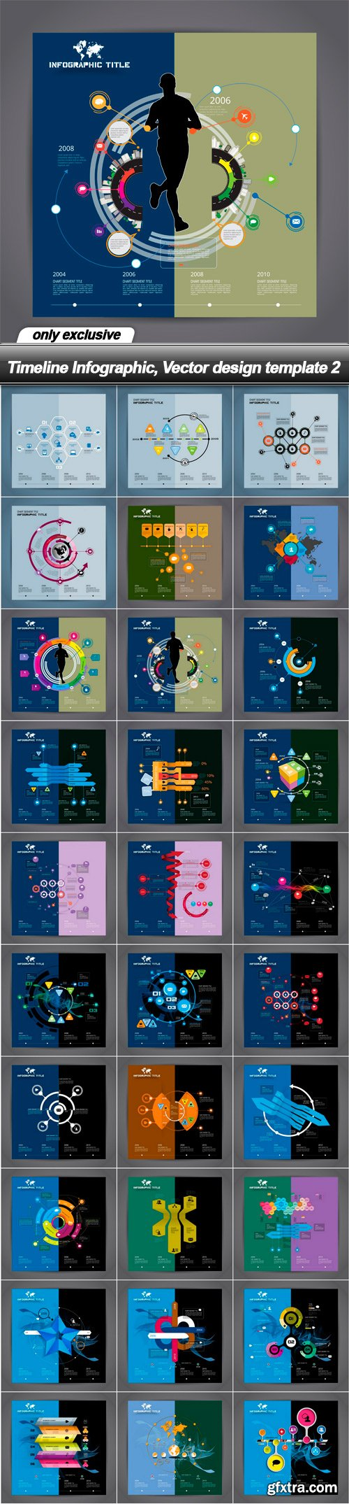 Timeline Infographic, Vector design template 2 - 30 EPS