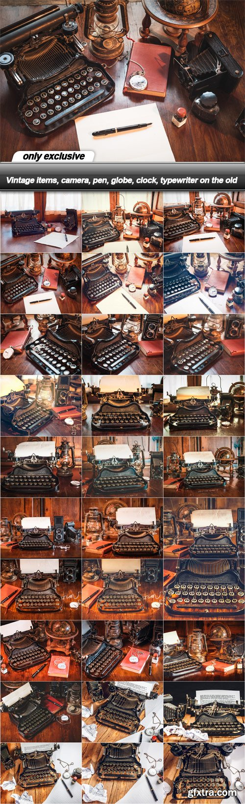 Vintage items, camera, pen, globe, clock, typewriter on the old - 30 UHQ JPEG