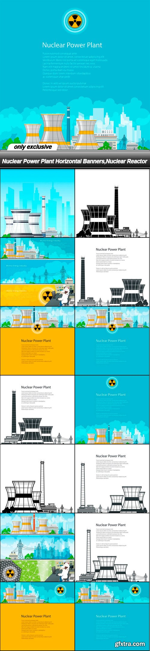 Nuclear Power Plant Horizontal Banners, Nuclear Reactor - 14 EPS