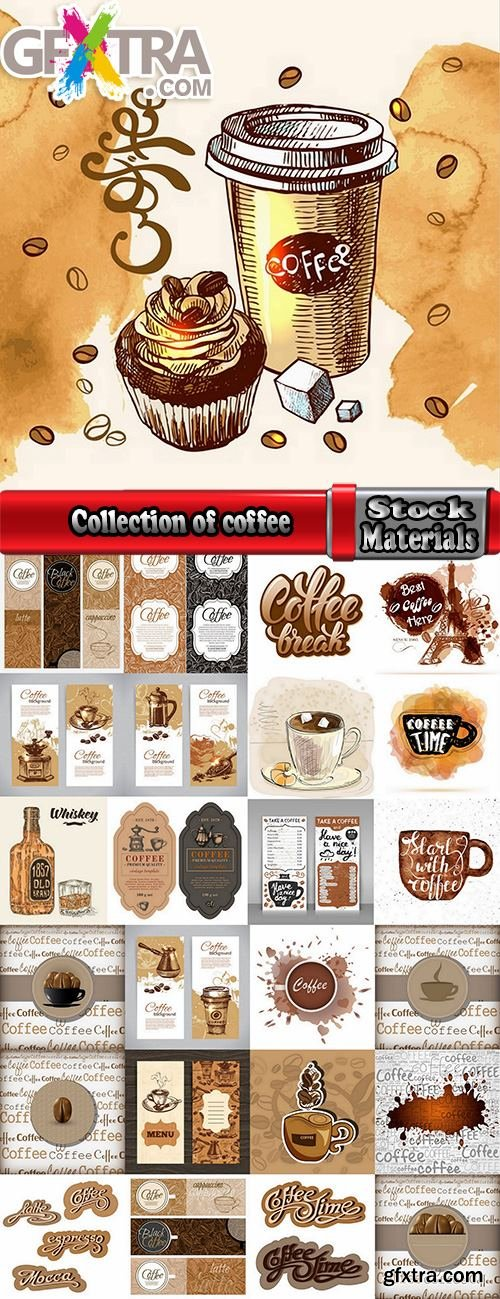 Collection of coffee grains drink vector image 25 EPS
