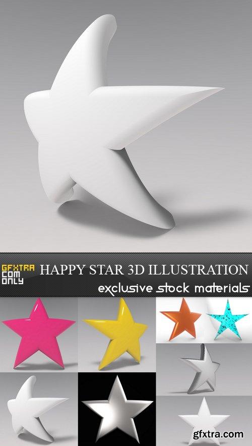 Happy Star 3D Illustration - 8 UHQ JPEG