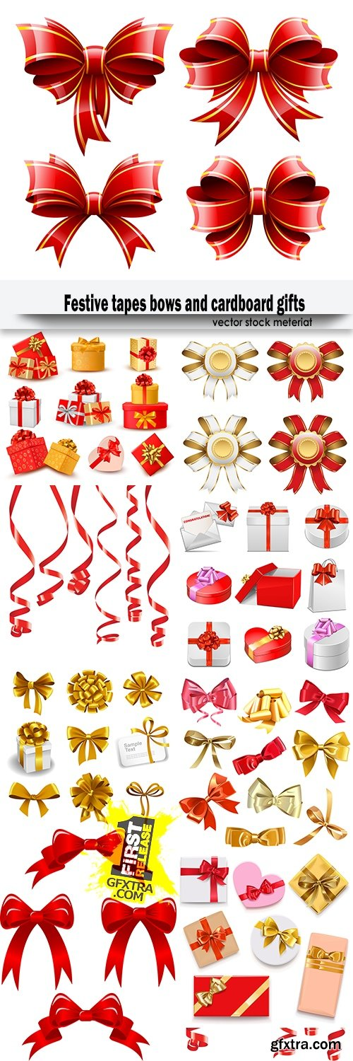 Festive tapes bows and cardboard gifts