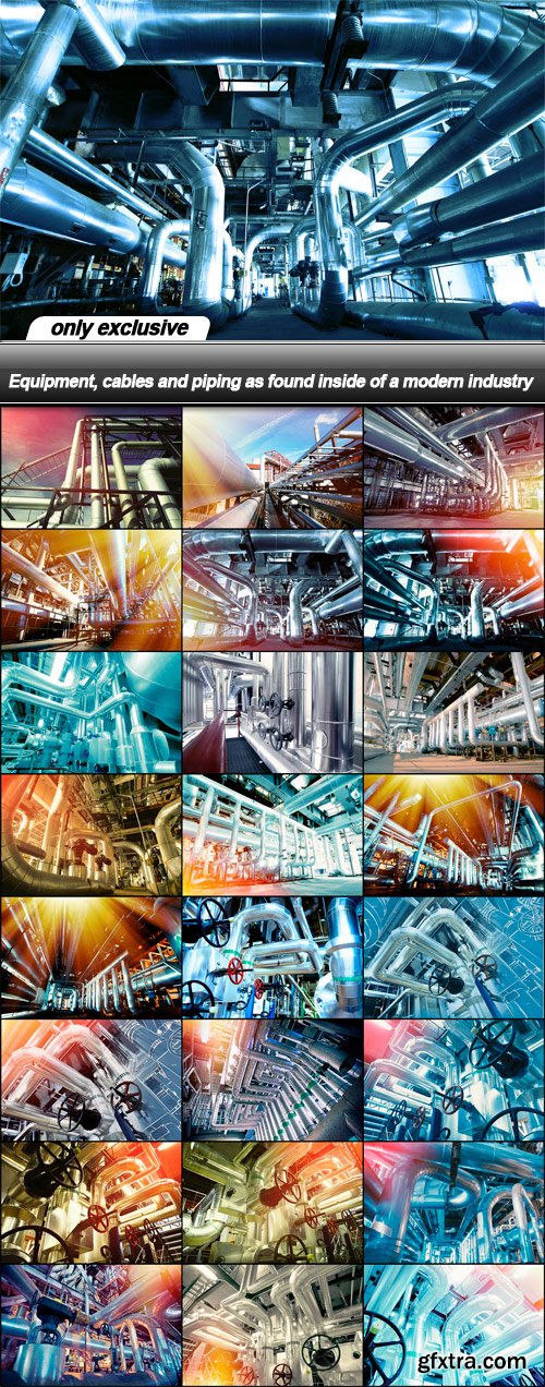 Equipment, cables and piping as found inside of a modern industry - 25 UHQ JPEG