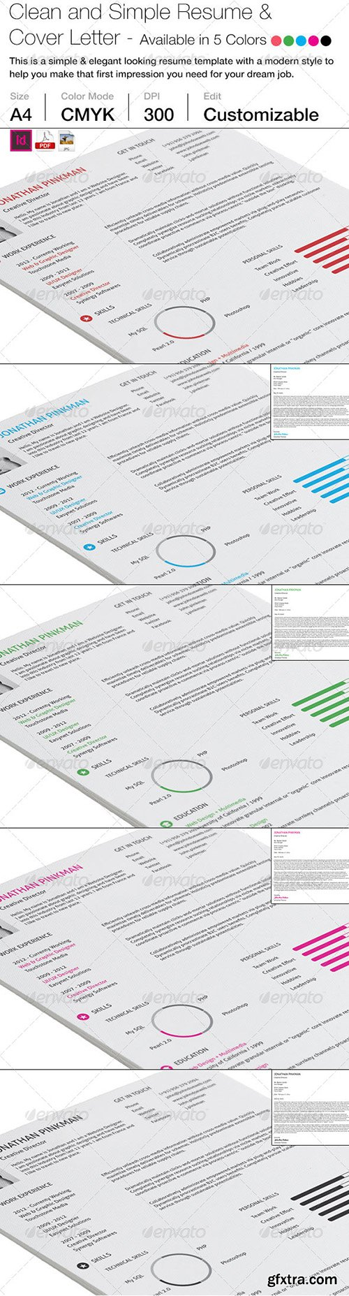 Graphicriver 2-Piece Clean Simple Resume with Cover Letter 6925535
