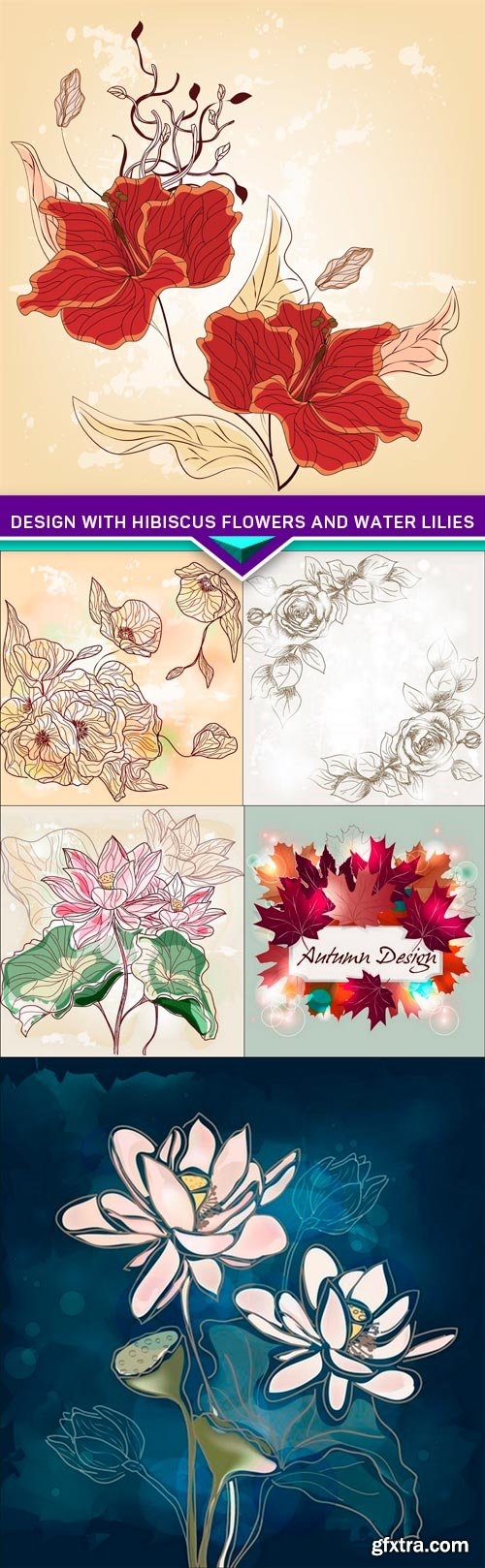 Design with hibiscus flowers and water lilies 6X EPS