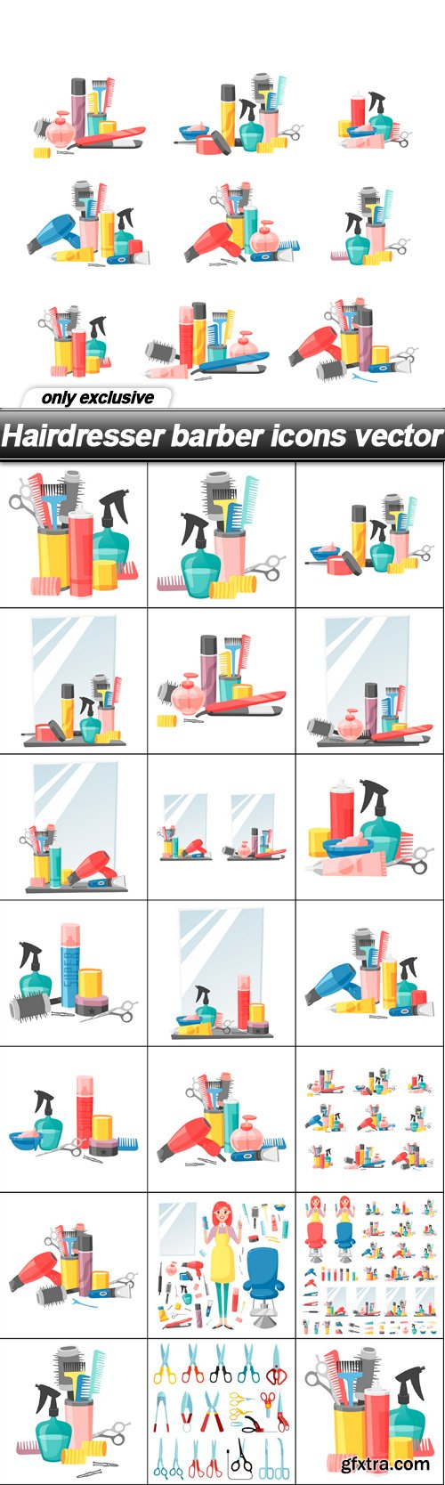 Hairdresser barber icons vector - 20 EPS