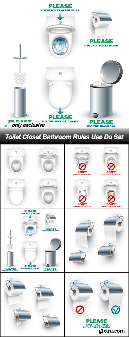 Toilet Closet Bathroom Rules Use Do Set - 6 EPS