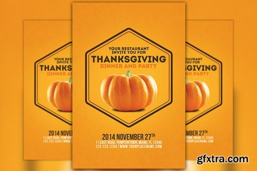 CM - Minimal Thanksgiving Flyer Template 105952