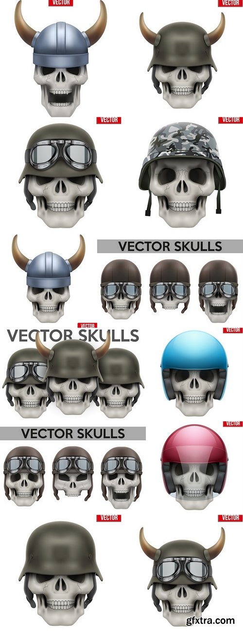 Human skull with Military helmet