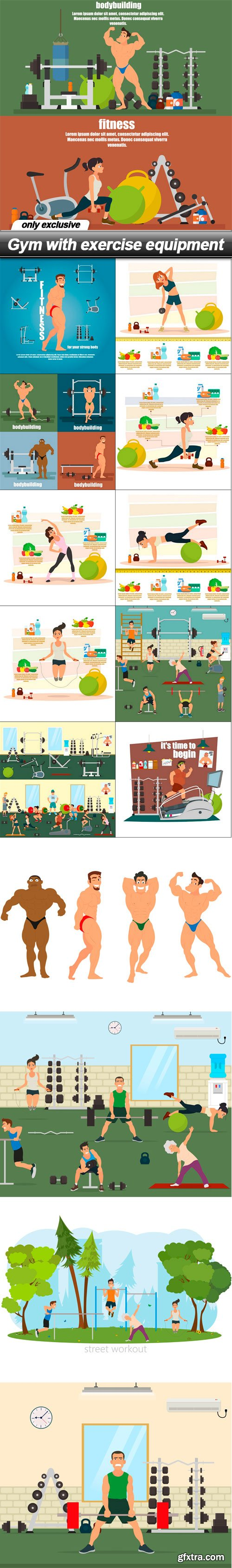 Gym with exercise equipment - 15 EPS