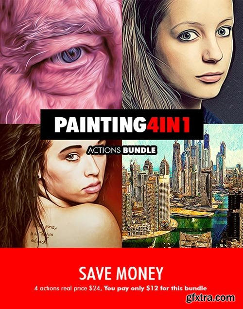 GraphicRiver - Painting - 4in1 Photoshop Actions Bundle V.1 - 18177924