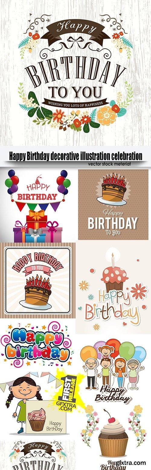 Happy Birthday decorative illustration celebration