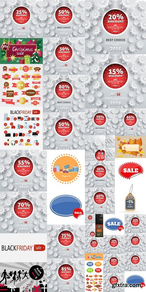 Set of Vector Sale Stickers in Flat Design 2
