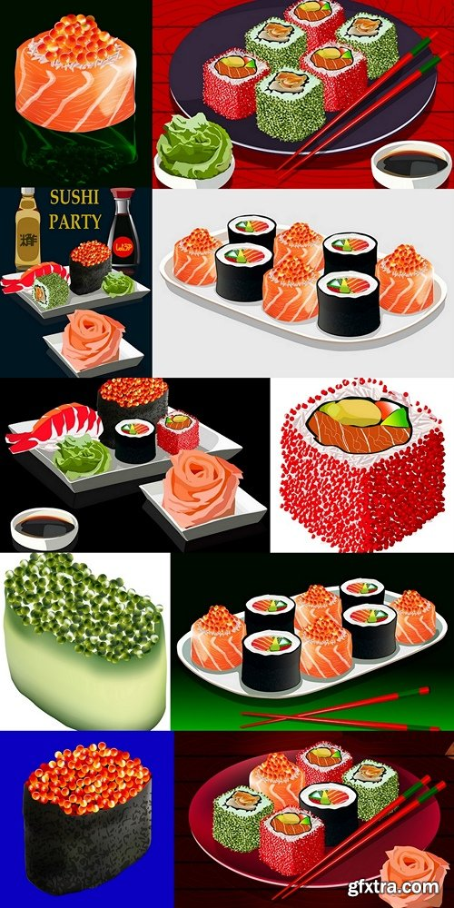 Sushi set with bottles of rice vinegar and soy sauce, vector illustration, isolated on dark blue