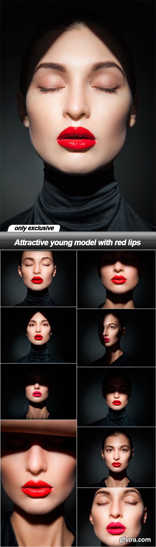 Attractive young model with red lips - 10 UHQ JPEG