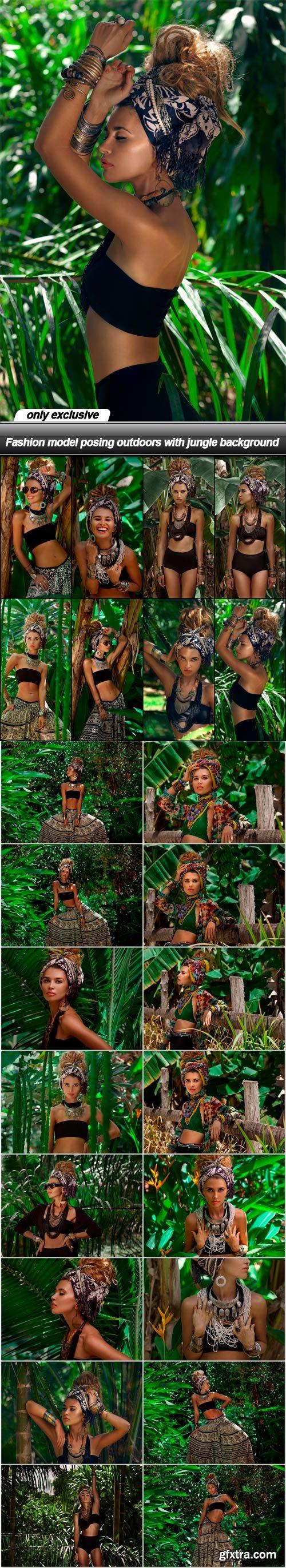Fashion model posing outdoors with jungle background - 24 UHQ JPEG