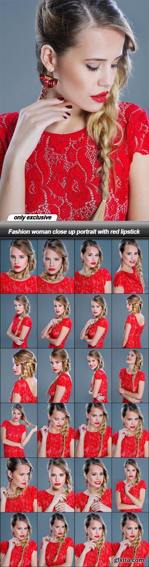 Fashion woman close up portrait with red lipstick - 25 UHQ JPEG