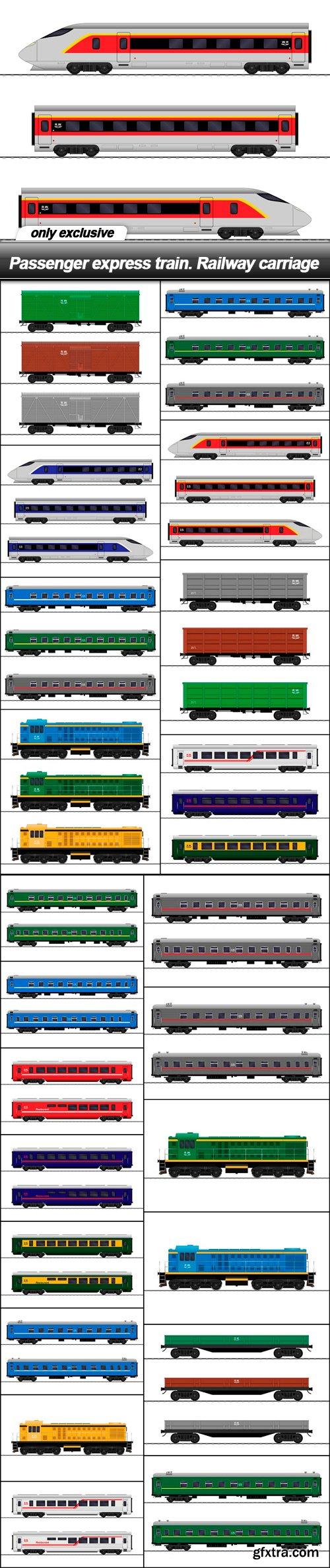 Passenger express train. Railway carriage - 22 EPS