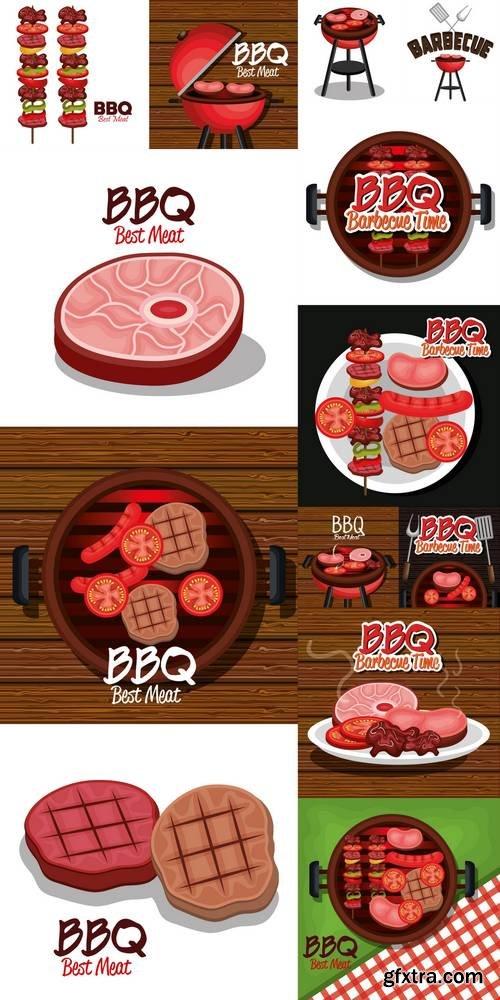 Barbecue Time Best Meat Vector Illustration Design