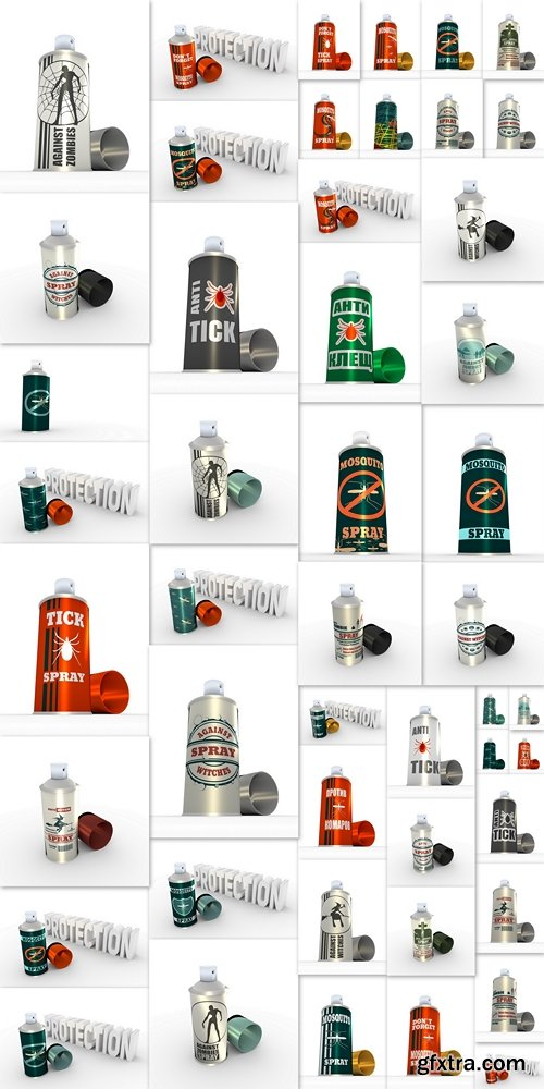 Illustration of anti zombies spray with cap. 3D rendering. Metallic painting label. Anti zombie spray text on bottle
