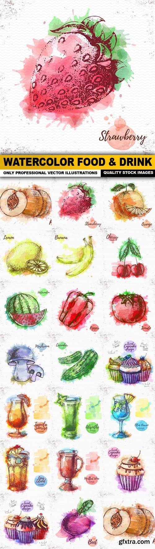 Watercolor Food & Drink - 20 Vector