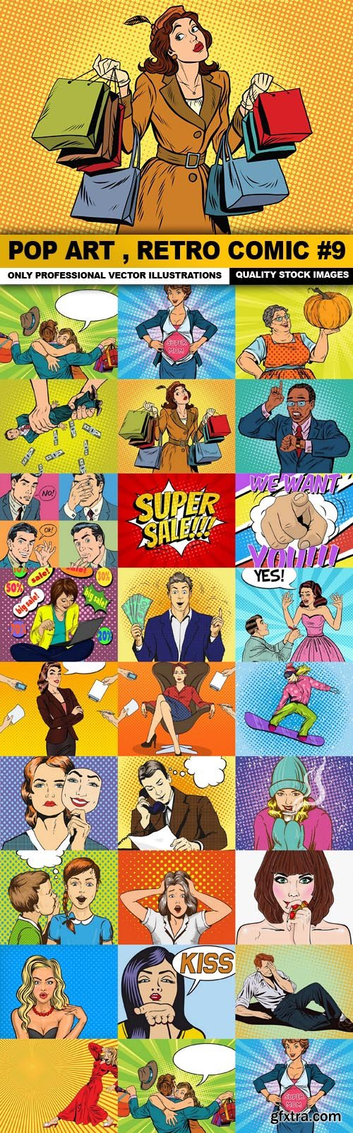 Pop Art , Retro Comic #9 - 25 Vector