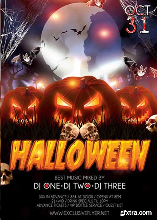 Halloween V27 Premium Flyer Template + Facebook Cover