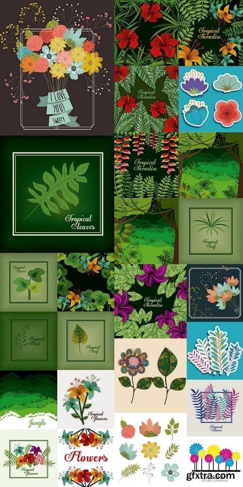 Flowers, plants, backgrounds, tropical plants