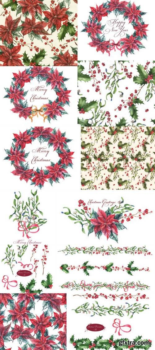 Hand-Drawn Watercolor Christmas Flowers